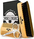 Beard Brush & Comb Set w/ Beard Scissors Grooming Kit, Beard Brush For Men, Natural Boar Bristle...
