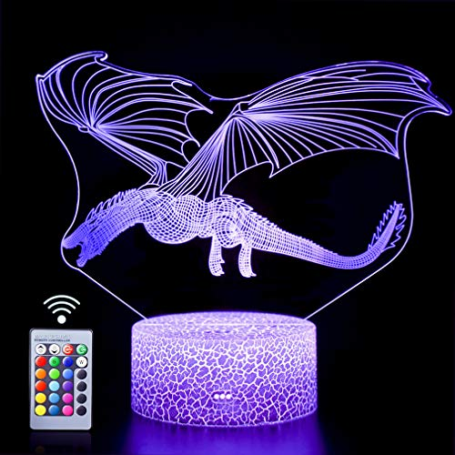 Dragon 3D Night Light Touch Table Desk Lamp,16 Colors &Remote Control 3D Optical Illusion Lights with Acrylic Flat & ABS Base & USB Cabler for Christmas Birthday Gift(Dinosaur Fly1)
