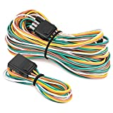 Yana Shiki Trailer Hitches - Nilight - 10039W 4 Pin Flat Trailer Wiring Harness Kit 18AWG 25Feet Male 4Feet Female Wishbone-Style Wiring Harness Extension kit for Utility Boat Trailer Lights