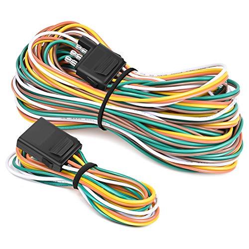 Nilight - 10039W 4 Pin Flat Trailer Wiring Harness Kit 18AWG 25Feet Male 4Feet...