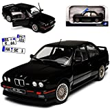 B-M-W 3er E30 M3 Coupe Sport Evolution Schwarz 1982-1994 1/18 Solido Modell Auto mit individiuellem Wunschkennzeichen -