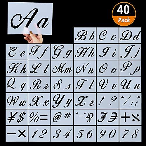 Aipaide 40 Stück Buchstaben Schablonen, wiederverwendbare Kunststoff Alphabet Schablonen, Kalligraphie Groß und Kleinbuchstaben Schablone, 21x15cm