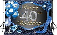 Zhy 40th Happy Birthday Backdrop 7x5ft / 2.1x1.5m New Vinyl Diamond Glitter Blue Photography background Banner Photo Shooting Props 294