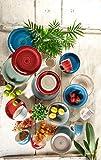 Mäser 929877 Bel Tempo I Frühstück-Service für 6 Personen im Vintage Look, handbemalte Keramik, Geschirr-Set 18 Teile, Steingut, Beige - 9
