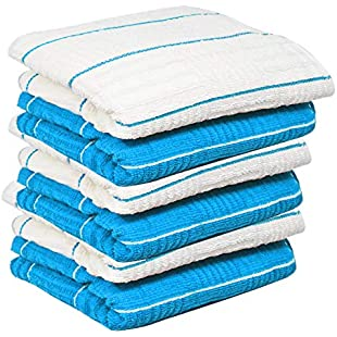 """100% Cotton Terry Tea Towel Egyptian, Wonderdry Soft Monocheck Black / White Jumbo Thick Kitchen Dish Cleaning Drying Cloth Pack of 3 , 4, 5, 6, 10, 15 - 40cm x 70cm (Blue/White Stripe Pack of 6, 16"""" x 28""""):Kisaran"""
