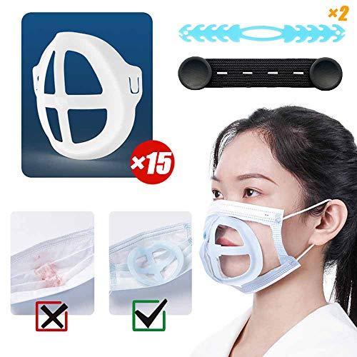 15PCS innerer Stützrahmen für Maske,3D Innenkissenhalterung für Lippenstiftschutz,Nasenkissen für Mund und Nase erhöhen den Atemraum und helfen dabei, reibungslos zu atmen