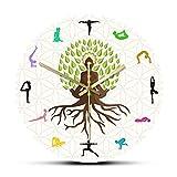 yaoyao Reloj de Pared Lotus Pose Tree Decorativo Energía Natural para meditación Arte de Pared Yoga Studio Tree of Life Coloful Impreso para Cualquier habitación en el hogar Cocina Escuela