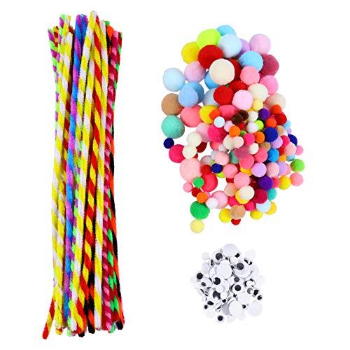jojofuny Limpiadores de Pipa Artesanía Conjunto Multicolor Limpiadores de Pipa Chenilla Vástago de Pompones Bolas con Googly Ojos Movibles para Bricolaje Suministros de Arte