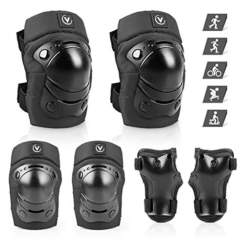 ValueTalks Kids Knee Pads Set Age 4-15 Years Knee Elbow Pads Waist Guards 6pcs Protective Gear Kit for Skateboard BMX Cycling Skating Rollerblading (Black)