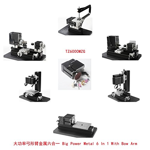 Best Price Motorized Mini Metal Working Lathe Machine DIY Tool Mini Metal Bow Arm 6 In 1 Kit Tool Fo...