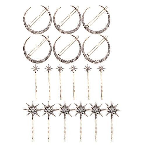 P Prettyia Haarnadeln Haarstecker Haargesteck Haarschmuck Mond Sterne Form geeignet für alle Arten von Frisur