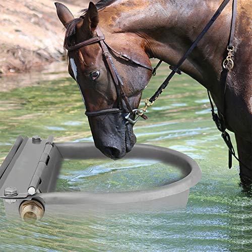 GOTOTOP Abbeveratoio Automatico per Cani,Cavalli, Pecore, capre, bovini, Ciotola in Acciaio Inox con Scarico,4L (Grigio)