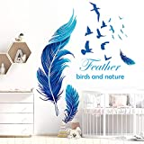 YXHZVON Adhesivo de pared de plumas, 129 x 81 cm adhesivo de pared autoadhesivo grande para bricolaje refranes calcomanía de pájaro para pared decoración para cocina baño habitación de niños, azul