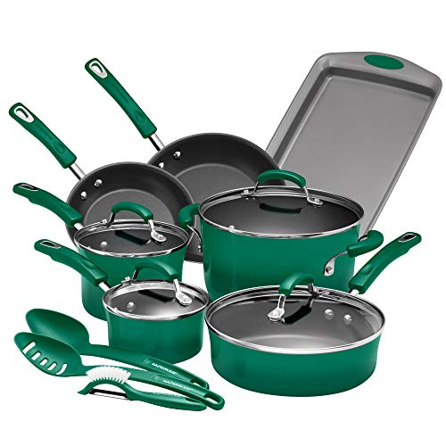 Rachael Ray Batterie de cuisine 14 pièces en porcelaine émaillée et aluminium anti-adhésif (vert fenouil)