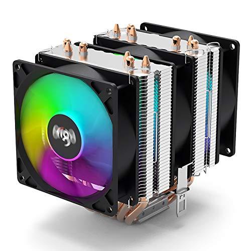 Aigo Gale CPU Air Cooler 6 Heatpipes 90mm Radiator 3 Fans 4 Pin LED CPU Cooler Fan for Intel & AMD LGA 1200 115X 1366 AM3 AM3+ AM4
