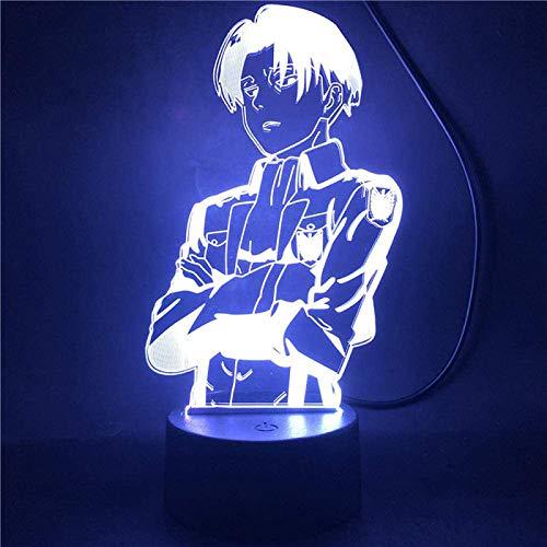 Kacoco 3D-Illusionslampe Führte Nachtlicht-Anime-Angriff Auf Titan-Kapitän Levi Ackerman Figur für Mädchen und Jungen im Alter von 5?12 Jahren Geburtstagsgeschenk