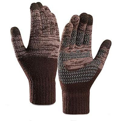 Winter Knit Gloves, Touch Screen Warm Gloves, Non-Slip Full Cover Fleece Gloves