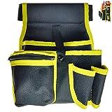 Cinturón de herramientas GZcaiyun con cinturón, ajustable, portátil, de poliéster 600D, para jardineros, agricultores, ingenieros (negro/amarillo)