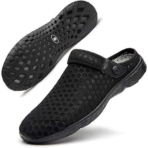 Zuecos de Verano para Unisex Adulto Playa de Sandalias Antideslizante Respirable Piscina Ahueca Zapatillas Chanclas Slippers Negro 45