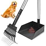 TNELTUEB Dog Pooper Scooper, Metal Pet Poop Tray and Rake with Long Stainless Handle Best Bin with Rake for Large Dog