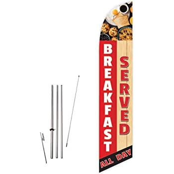 Safety Orange Stake Windless Feather Swooper Flag Banner Kit: 14 Pole Set Cup Breakfast