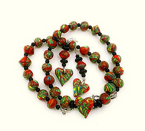 Schmuckset: Perlenkette Ohrringe Damen Handmade rot grün gelb Gesamtlänge Kette ca. 50 cm