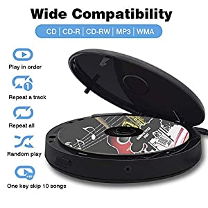Portable CD Player,Bluetooth Personal Walkman MP3 Players 2000mAh Rechargeable Compact Disc CD Music Player USB Play Built-in Stereo Speaker Anti-Shock Protection