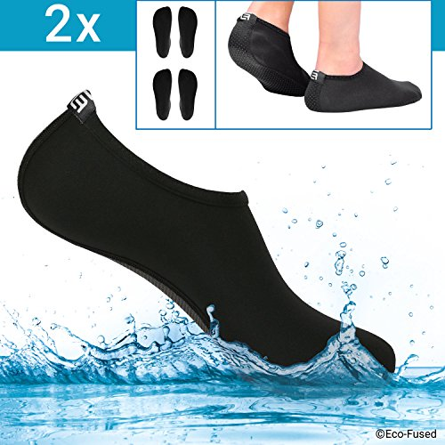 Calzini Acquatici Donna - Extra Comfort - Protegge da Sabbia, Acqua Fredda/Calda, UV, Rocce/Ciottoli - Calzature Easy Fit per Nuoto, Beach Volley, Snorkeling, Vela, Surf, Yoga, Passeggiate, ECC.