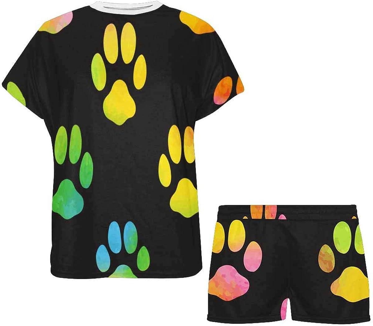 INTERESTPRINT Meow Footprint Women's Pajama Sets Short Sleeve Shorts - Pajamas for Women