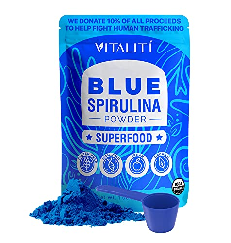 Organic Blue Spirulina Powder – 100% Pure Superfood Supplement from Blue Green Algae Powder for Natural Food Coloring, Smoothie & Protein Drink, Vegan & USDA Certified Organic by Vitalití, 30 Servings