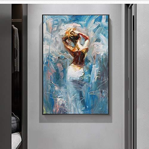 """ZMFBHFBH Dancing Ballerina Modern Wall Art Pictures Pintura en Lienzo Artista Famoso Pintado Abstracto Ballet Girl Pintura de Pared 70x122cm (27""""x48) Sin Marco"""