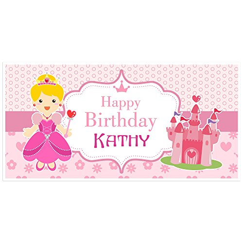 Princess Heart Birthday Banner Personalized Party Backdrop