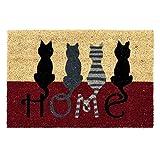 D'Casa Fußmatte, modernes Katzenmotiv, Kokosfaser, 40 x 60 cm