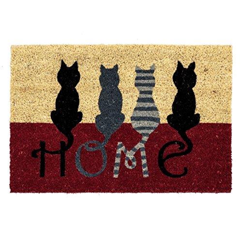 D'CASA Felpudo Moderno Gatos diseño Home, Fibra de Coco, 40 x 60 cm 🔥
