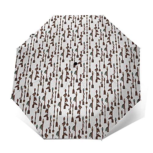 Paraguas Plegable Automático Impermeable Tiro con Arco Cultura Bohemia, Paraguas De Viaje Compacto Prueba De Viento, Folding Umbrella, Dosel Reforzado, Mango Ergonómico