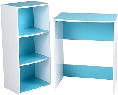 MEUBLE COSY Ensemble bureau junior avec une étagère et un bureau pour l'étude à domicile des enfants et des étudiants - Bleu