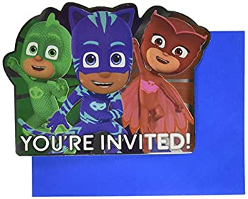 amscan 490153 Premium PJ Masks Party Invitations with Envelopes | 8 ct | Party Supply Multicolor