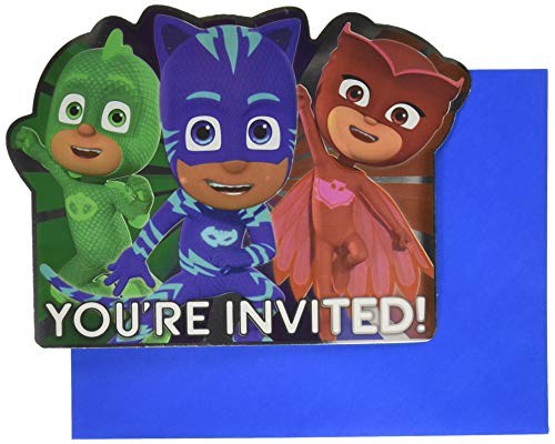 Amscan 490153 PJ Masks Jumbo Deluxe Party Invites   Pack of 8, Multicolor