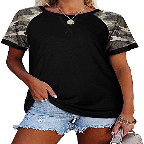 Cuello Redondo Suelto de Mujer Manga Corta Estampado Animal Tops de Verano Camisetas básicas Camisetas de Manga Corta con Estampado de Leopardo Tops Camiseta Casual raglán de Bloques de Color Tops