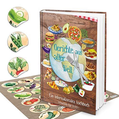 Logboek-uitgeverij set XXL receptenboek om zelf te schrijven, DIN A4, Duitse versie uit alle wereld + 24 stickers groente aquarel kookboek leeg voor eigen recepten cadeau DIY internationaal