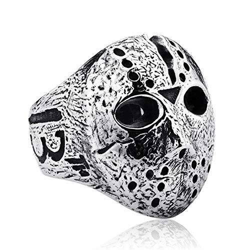 Gfjhgkyu Punk Rock Männer Black Friday Jason Hockey Maske Horror Fingerring Mode Liebhaber Valentinstag Schmuck Geschenk Antique Silver US 7