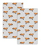 east2eden Countryside Kitchen Fox 100% Cotton Set of 2 Kitchen Tea Towel Cloth