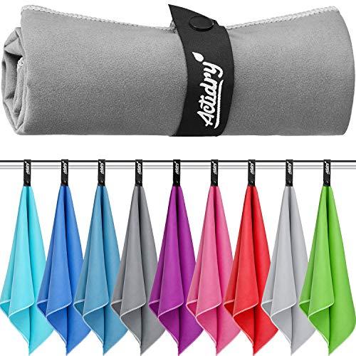 Mikrofaser Handtuch XL 100 x 200 cm - Dunkelgrau - Strandtuch Badetuch | leicht schnelltrockend und hochsaugfähig | Handtücher in 9 Farben und S M L XL Größen