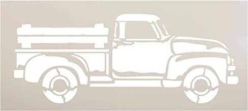 Old Red Truck Stencil with Wood Bed Rails by StudioR12 | Rustic Farmhouse Country Living Farm Life Vintage Decor | Reusable Mylar Template | Paint Wood Signs | DIY Home Craft | Select Size (15