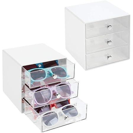 accessoire de rangement pour lunettes de lecture ou de soleil mDesign bo/îte de rangement pour lunettes couleur cr/ème et transparent support /à lunettes en plastique et m/étal avec 3 tiroirs