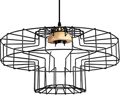 HYX Sombrero Forma industrial jaula colgante de la vendimia Hierro ...