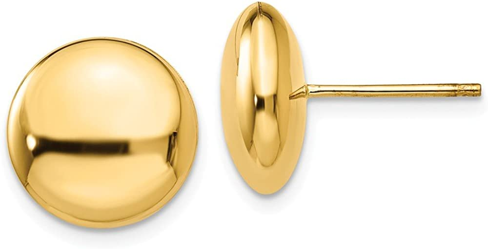 14k Yellow Gold 12mm Button Post Stud Earrings Ball Fine Jewelry For Women Gifts For Her