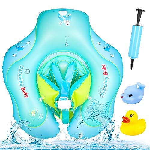 PAMIYO Flotador de Natación para Bebés, Flotador Cuello Bebe Ajustable Inflable Doble Airbag Flotador de Natación Piscina Nadar Anillo para Niños Bebés con Bomba Manual 6 a 30 Meses
