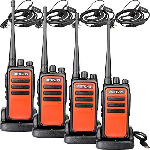 Retevis RT666 Walkietalkie Licentievrij PMR446 Hoog Bereik 16 Kanalen CTCSS/DCS Scan Squelch Walkie Talkie met Headset (2 Paar, Oranje)