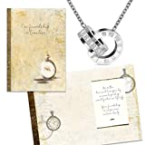 Smiling Wisdom - Timeless Friendship Special Friend Greeting Card and Time and CZ Intertwined Ring Necklace Gift Set - Women Best BFF Bestie - Stainless Steel - New
